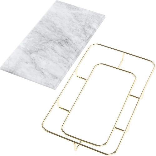 Marble Vanity Organizer Tray with Polished Gold-Tone Metal Rail - MyGift