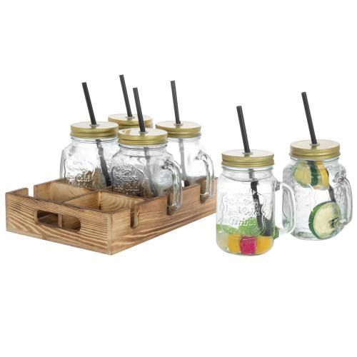 Mason Jar Mugs with Lids, Straws & Wood Caddy, Brown, Set of 6