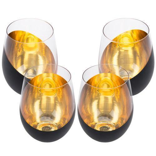 Matte Black & Gold Stemless Wine Glasses, Set of 4