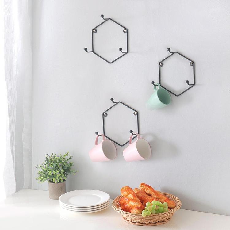 Wall Mounted 3-Hook Modern Matte Black Geometric Metal Mug Rack Holder, Set of 3 - MyGift Enterprise LLC