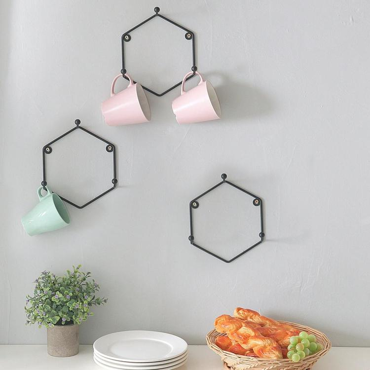 Matte Black Metal Wall Mounted Mug Rack, Set of 3