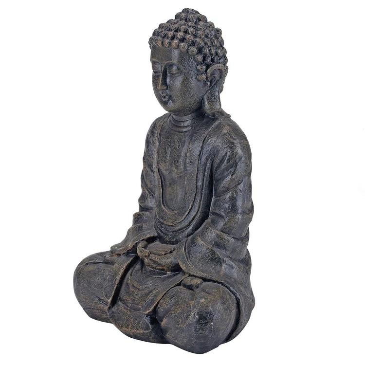 12 Inch Meditating Seated Buddha Statue Figurine with Rustic Gray Finish - MyGift Enterprise LLC