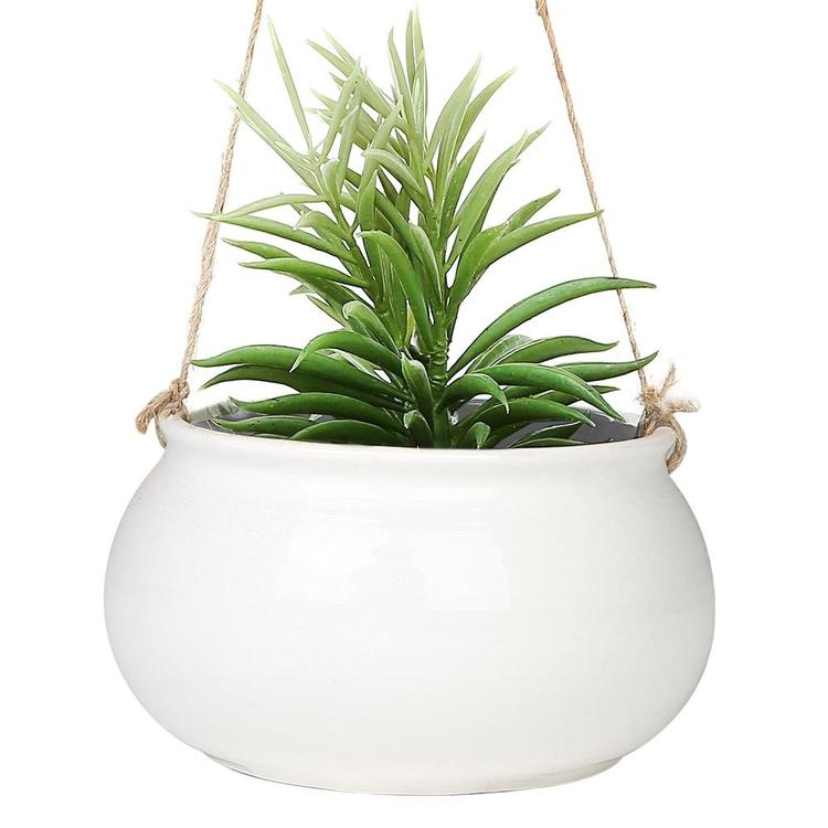 Mediterranean Style Round White Ceramic Hanging Planter Pot w/ Jute Twine String - MyGift Enterprise LLC