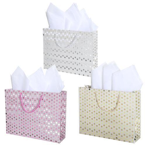 Medium Glitter Polka Dots Gift Wrap Bags in Assorted Colors, Set of 3