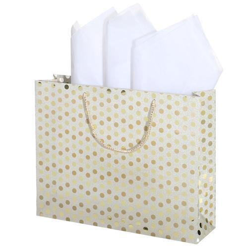 Medium Glitter Polka Dots Gift Wrap Bags in Assorted Colors, Set of 3 - MyGift