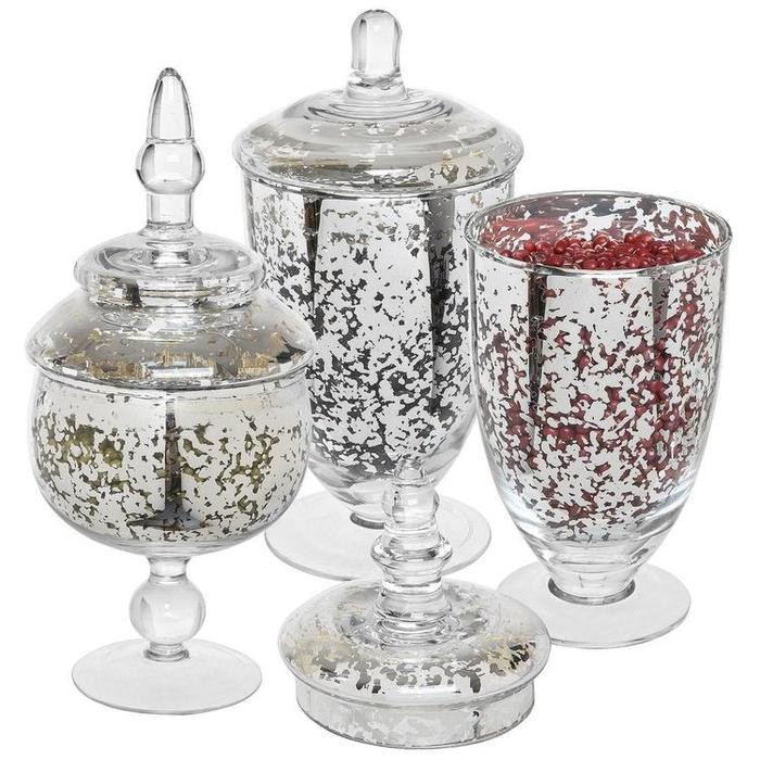 Decorative Mercury Silver Glass Apothecary Jars / Wedding Centerpiece / Footed Candy Dishes - 3 Piece Set - MyGift Enterprise LLC