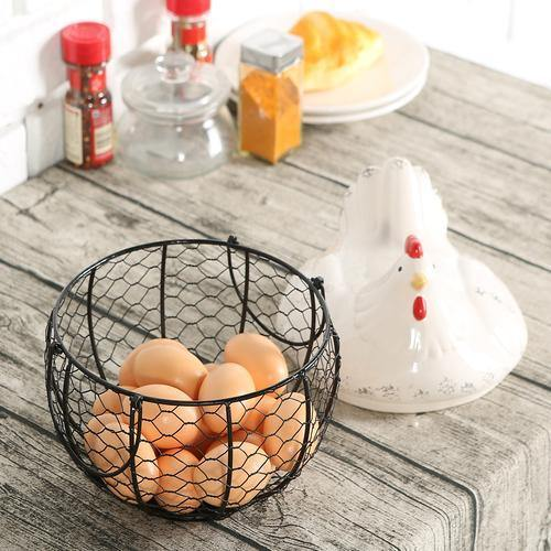 Mesh Wire Egg Basket with Ceramic Chicken Top - MyGift
