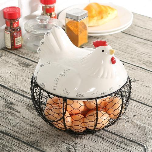 Mesh Wire Egg Basket with Ceramic Chicken Top