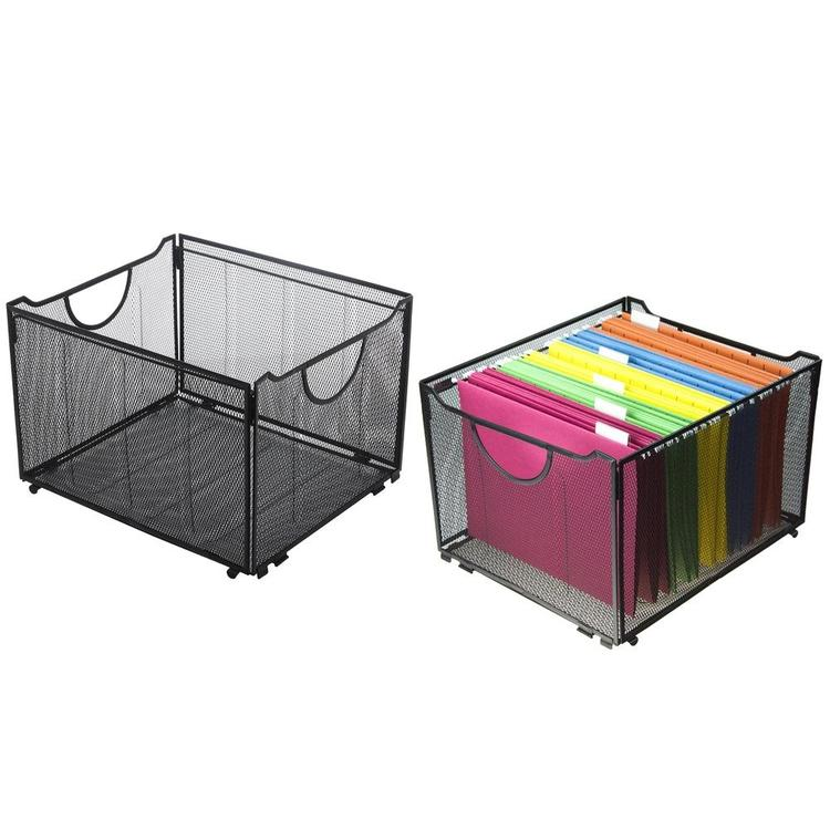 Modern Black Metal Mesh Foldable Office File Folder Organizer Rack, Set of 2 - MyGift Enterprise LLC