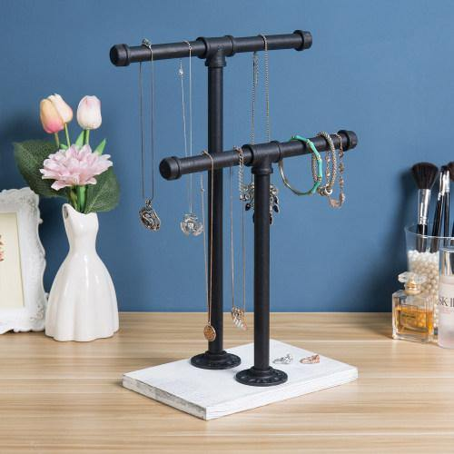 Metal Industrial Pipe & Vintage White Wood Jewelry Stand