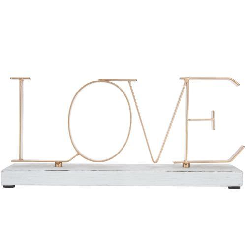 "Metal Letters Sign ""Love"" with Whitewashed Wood Base"