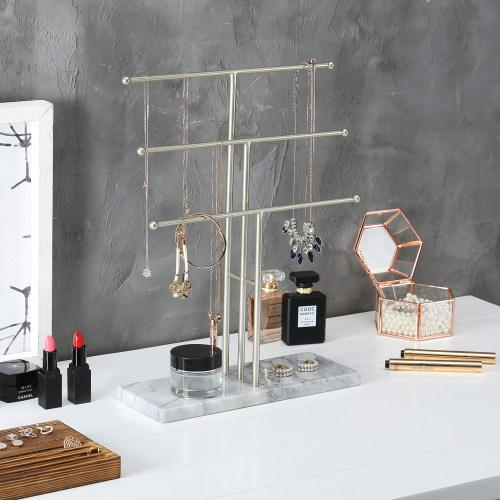 Metal Necklace Display Stand with Stone Base, Brass-Tone