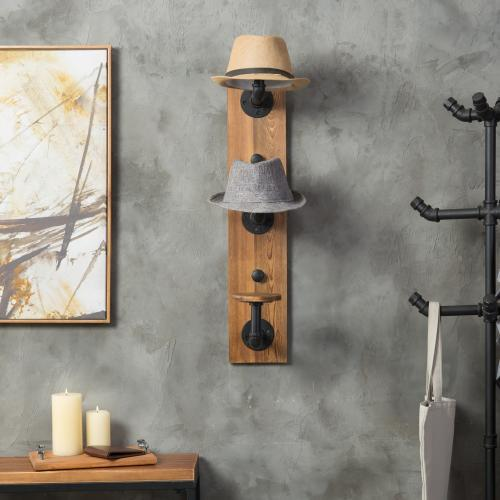 Metal Pipe & Rustic Burnt Wood Hat Rack, 3-Hook