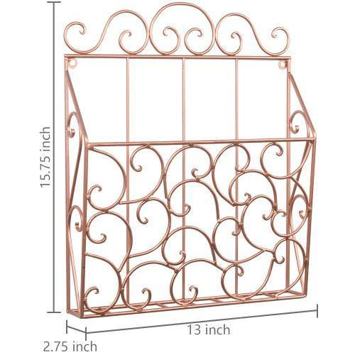 Metal Scrollwork Design Wall Mounted Copper Magazine Organizer - MyGift