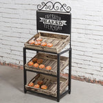 Metal Scrollwork & Rustic Wood Crate Display Stand w/ Chalkboard Sign