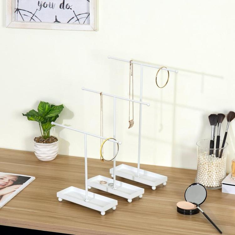 Modern T-Bar Jewelry Organizers with Ring Dish, White, Set of 3 - MyGift Enterprise LLC