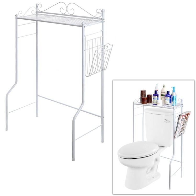 Metal Storage Freestanding Bathroom Shelf w/ Magazine Basket, White - MyGift Enterprise LLC