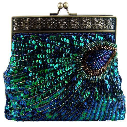 MG Collection Nisha Beaded Sequin Peacock Clutch