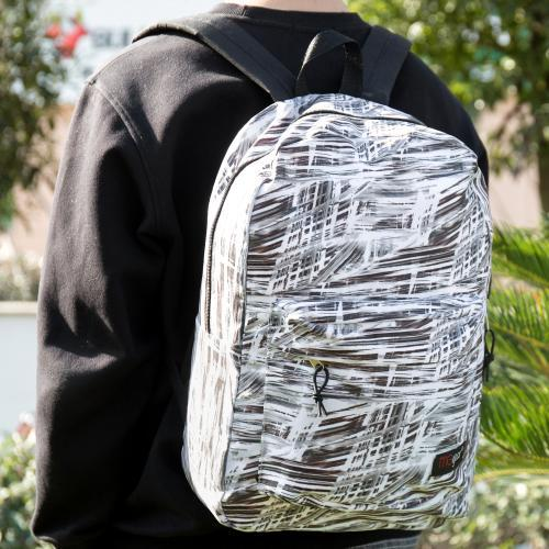 MGgear 17-inch Black & White Abstract Pattern School Backpack