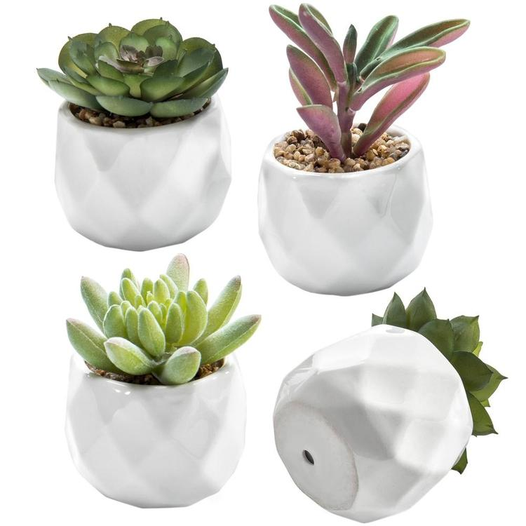 Mini Artificial Succulent Plants in Geometric Ceramic Planter Pots, Set of 4 - MyGift Enterprise LLC