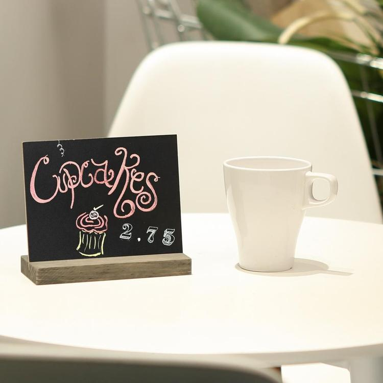 Mini Tabletop Chalkboard Signs with Rustic Wood Stands, 5 x 6-inch, Set of 6 - MyGift Enterprise LLC