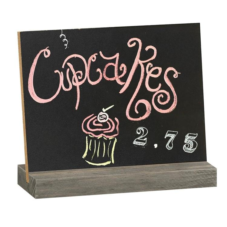 Mini Tabletop Chalkboard Signs with Vintage Wood Base Stands, Set of 4 - MyGift Enterprise LLC