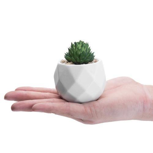 Mini Faux Succulents in Geometric Pots, Set of 6-MyGift