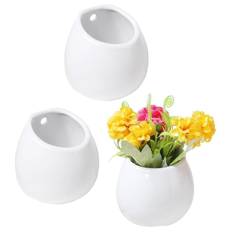 Mini White Ceramic Wall Hanging Vases, Set of 3