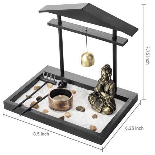 Mini Zen Sand Garden with Accessories and Tray