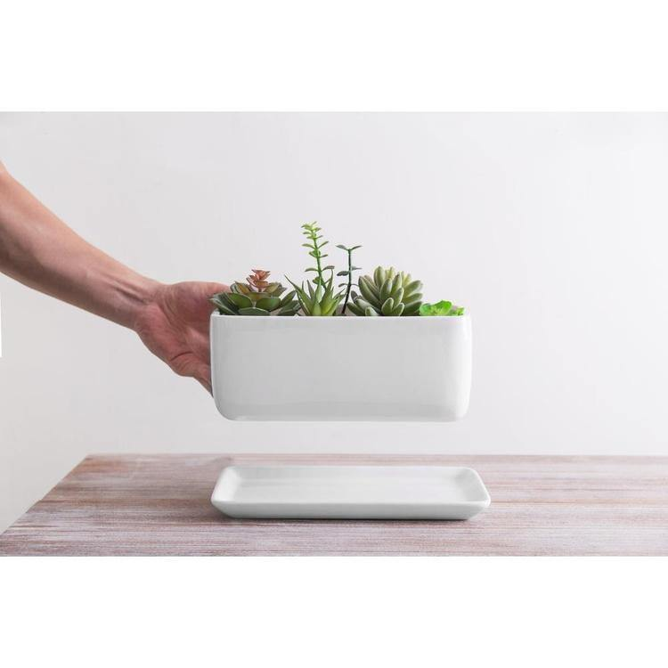 10 inch Rectangular Minimalist White Ceramic Succulent Planter Pot with Saucer - MyGift Enterprise LLC