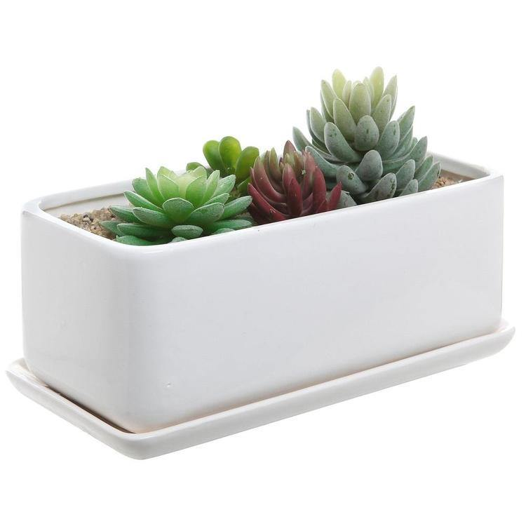 Minimalist White Ceramic Planter Pot, Rectangular