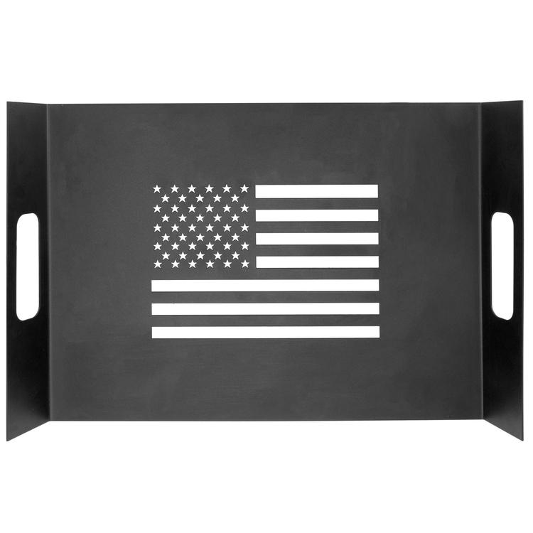 Modern Black Metal American Flag Decorative Serving Tray with Handles