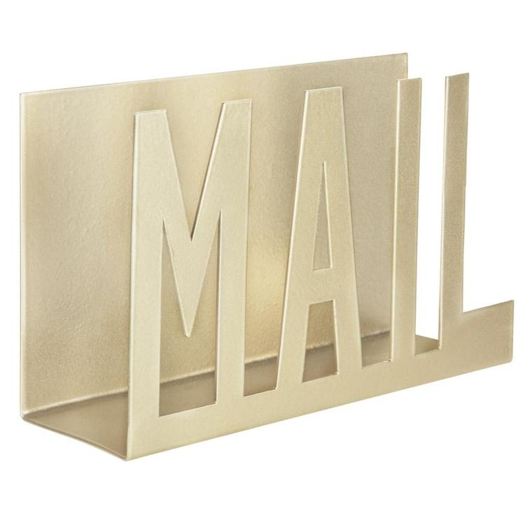 Modern Brass-Tone Metal Cutout-Design MAIL Holder - MyGift Enterprise LLC