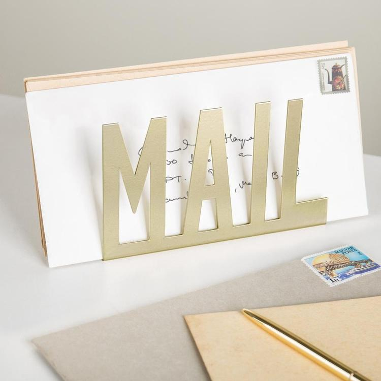 Modern Brass-Tone Metal Cutout-Design MAIL Holder