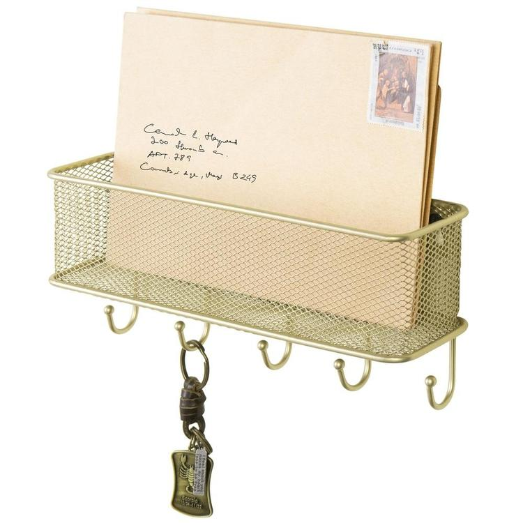 Modern Brass-Tone Wall-Mounted 5 Key Hook Rack with Metal Wire Mesh Mail Basket - MyGift Enterprise LLC