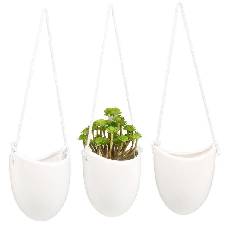 Modern Ceramic Hanging Succulent Planter Pots, Set of 3, White - MyGift