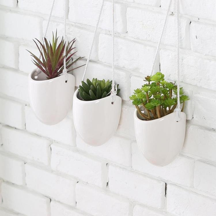 Modern Ceramic Hanging Succulent Planter Pots, Set of 3, White