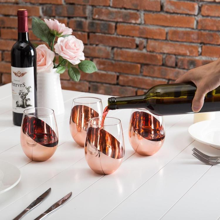 Modern Copper Stemless Wine Glasses, Set of 4 - MyGift Enterprise LLC