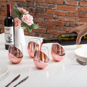 Modern Copper Stemless Wine Glasses, Set of 6