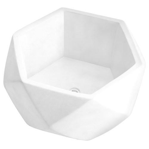Modern Geometric Cement Succulent Planter, White - MyGift