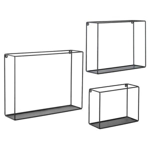 Modern Metal Wire Frame Shadow Boxes, Black, Set of 3 - MyGift