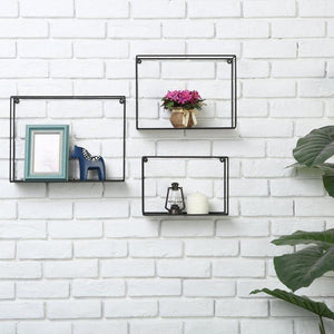 Modern Metal Wire Frame Shadow Boxes, Black, Set of 3