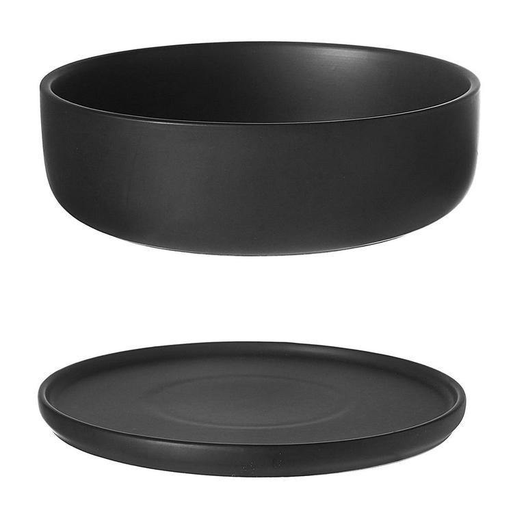 8 Inch Modern Round Black Ceramic Succulent Planter Bowl with Removable Saucer - MyGift Enterprise LLC