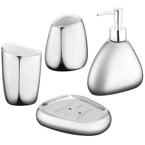 Modern Silver Ceramic Bathroom Accessory Set