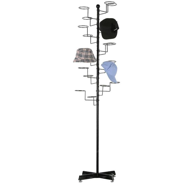 Modern Black Metal Freestanding Customizable Retail Hat Rack / Wig Display Stand w/ 20 Circular Hat Hooks - MyGift Enterprise LLC