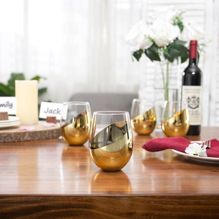 Modern Stemless Brass Wine Glasses, Set of 4