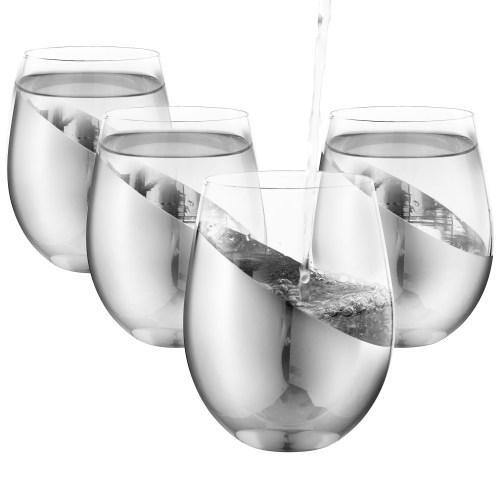 Modern Tilted Silver Stemless Wine Glasses, Set of 4