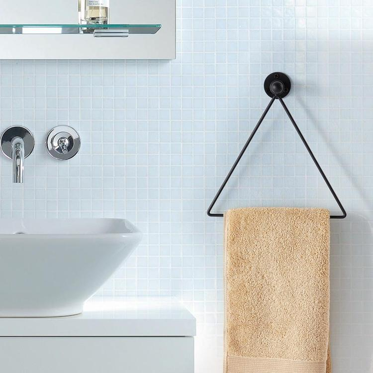 Modern Wall Mounted Triangle Metal Bathroom / Kitchen Hand Towel Bar Rack, Black - MyGift Enterprise LLC