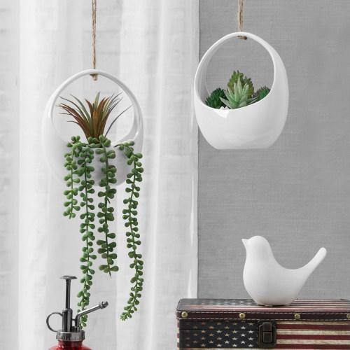 Modern White Ceramic Hanging Planters With Twine Rope Set Of 2 Mygift