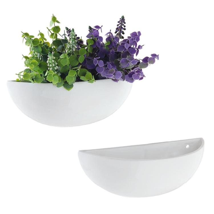 Modern White Half-Moon Wall Planter, Set of 2